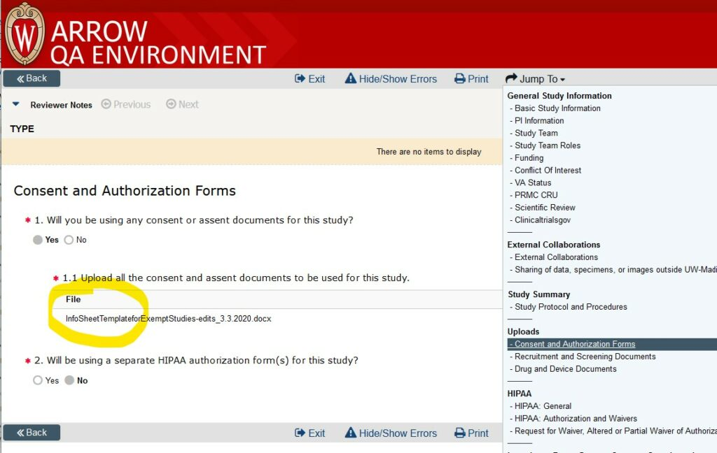 """Screenshot of a SmartForm application in ARROW.  The """"Consent and Authorization Forms"""" page of the SmartForm is displayed, with the section for file uploads in #1.1 of the page highlighted as the place to click to open the uploaded documents that appear listed there."""