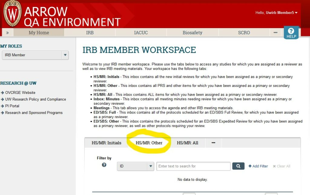 """Screenshot of ARROW user interface, from perspective of logged in IRB Member.   """"HS/MR: Other"""" tab is highlighted in the central workspace."""