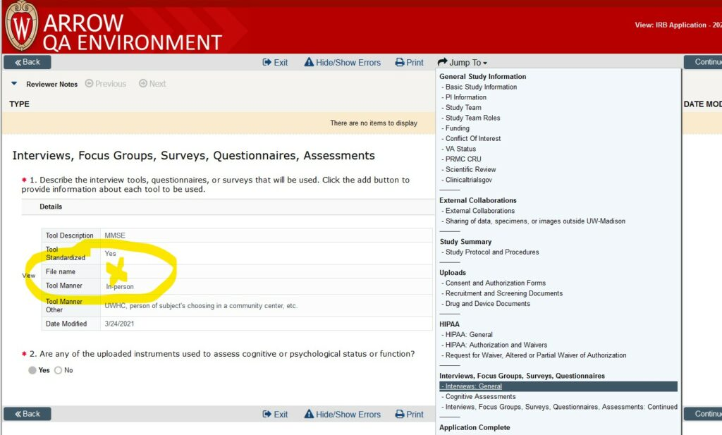 """Screenshot of a SmartForm application in ARROW.  The """"Interviews: General"""" page of the SmartForm is displayed, with the section for file uploads in #1 displaying information about a tool called """"MMSE."""" A highlighted """"X"""" shows where the file name would appear as the place to click to open the questionnaire or other document uploaded there."""