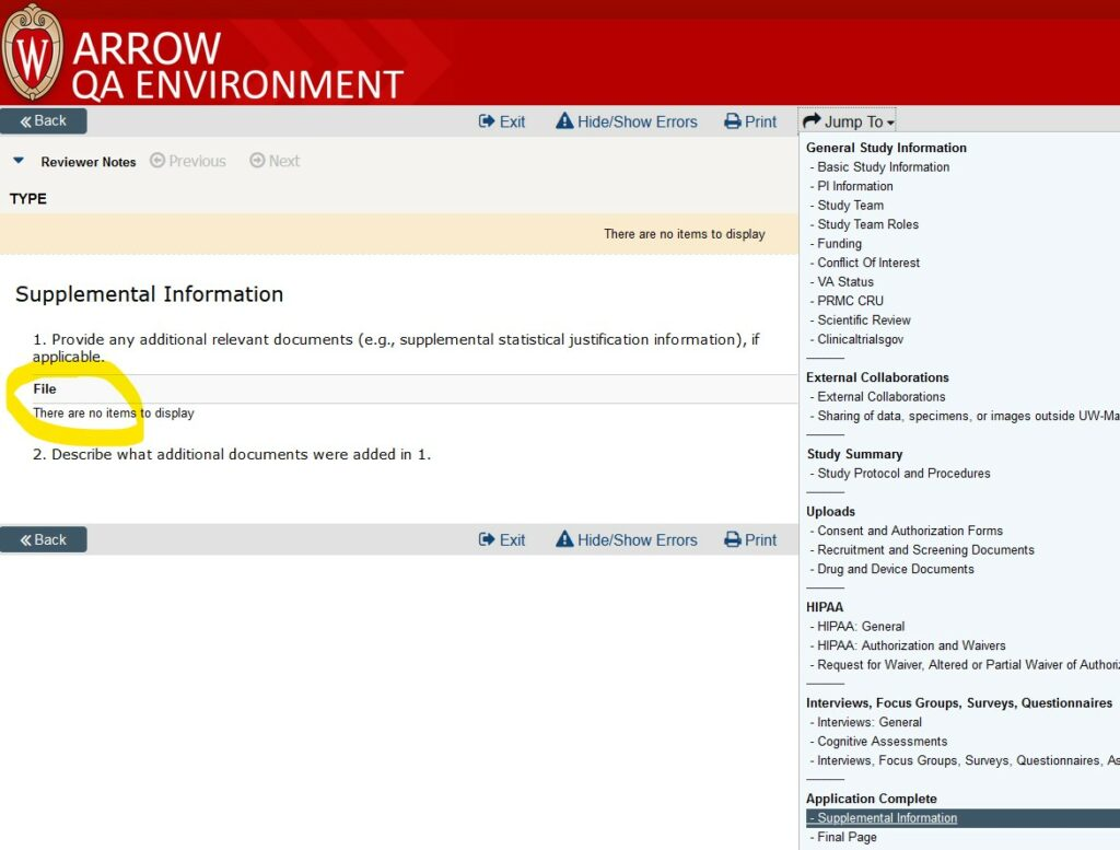"""Screenshot of a SmartForm application in ARROW.  The """"Supplemental Information"""" page of the SmartForm is displayed, including showing where it appears in the drop-down navigation menu (at the end).   The section for file uploads in #1 is highlighted as the place to click on any files that have been uploaded there by the researchers."""