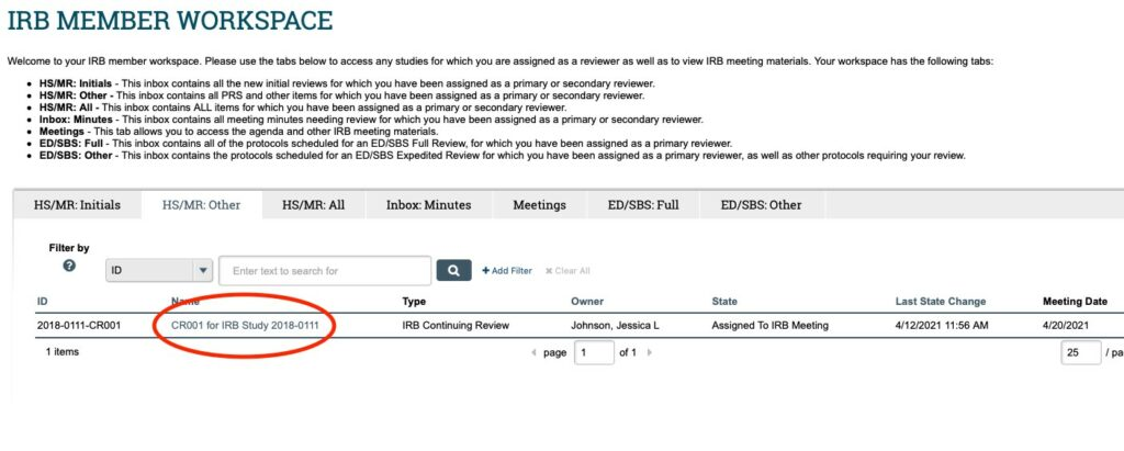 Image displays a screenshot of the IRB Member Workspace in ARROW. The Continuing Review header in the middle of the page is highlighted as the place to find continuing reviews assigned for review.