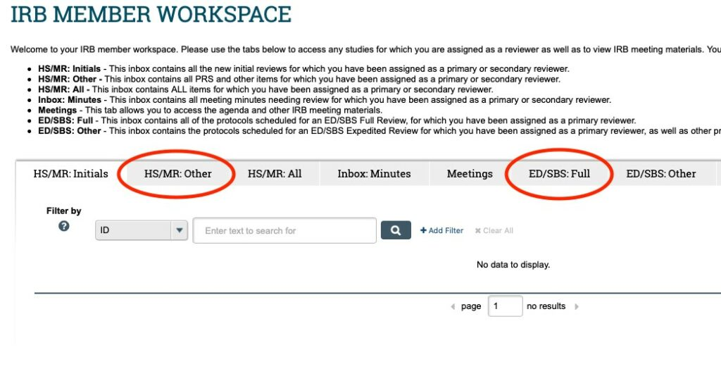 """Image displays a screenshot of the IRB Member Workspace in ARROW. The """"HS/MR: Other"""" and """"ED/SBS: Full"""" headers in the middle of the page are highlighted as the place to find applications assigned for review."""