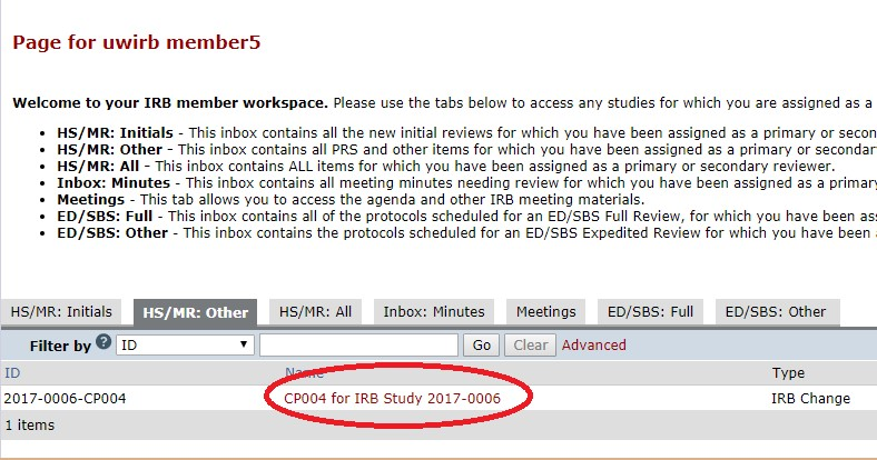 """Image displays a screenshot of the IRB Member Workspace in ARROW. In the central workspace, the """"HS/MR: Other"""" tab has already been selected, and within the content, the name of an agenda item has been highlighted as the place to click to go to the first review item. The title of the sample item is, """"CP004 for IRB Study 2017-0006."""" Next to the title, the """"Type"""" is defined as """"IRB Change."""""""